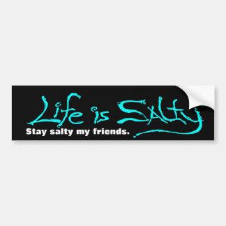 BEACH STYLE BUMPERSTICKER LIFE IS SALTY! BUMPER STICKER