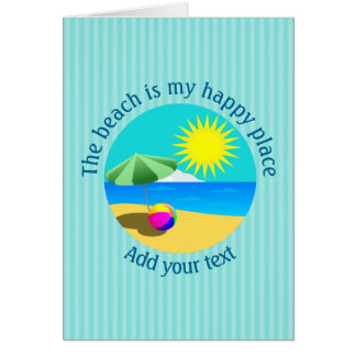 Beach, Summer, Happy Place Personalized Card