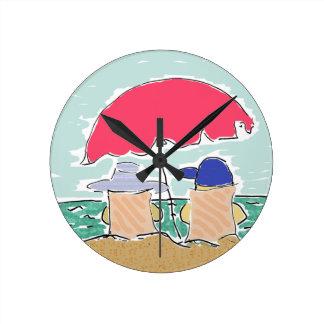 Beach Summer Round Clock