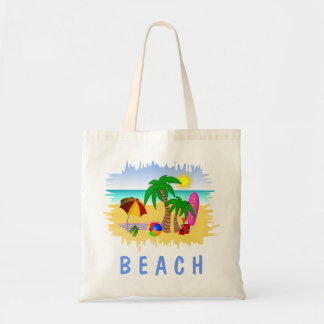 Beach Sun Sea and Surf Fun Budget Tote Beach Bag