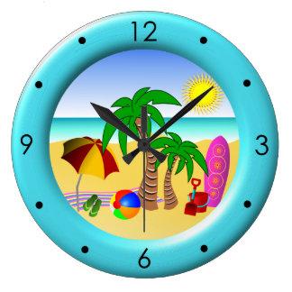 Beach Sun Sea and Surf Fun Large Blue Round Clocks