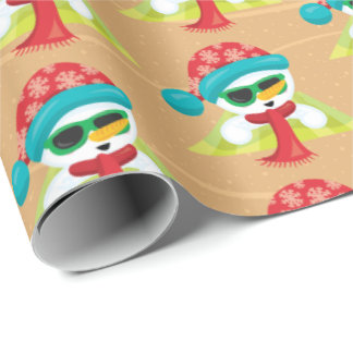 Beach sunbathing snowman Christmas tiled wrap Wrapping Paper