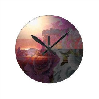 Beach sunlight and roses wall clocks