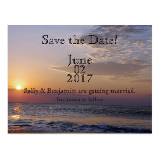 Beach Sunrise Save The Date Postcard