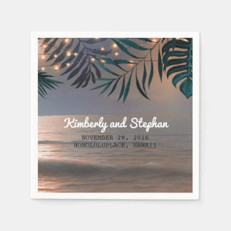 Beach Sunset and Palms Lights Destination Wedding Paper Napkins