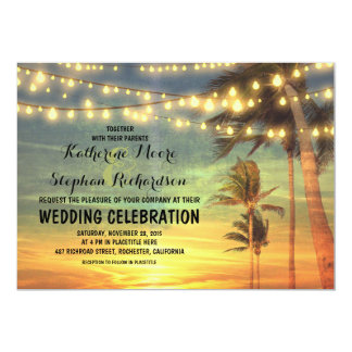 beach sunset and string lights wedding invitation