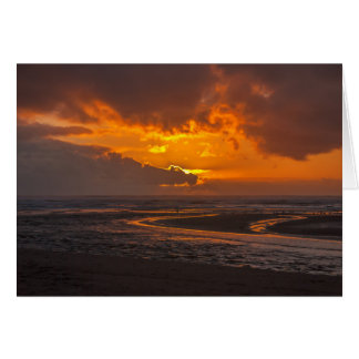 Beach Sunset at Ecola Creek Greeting Card