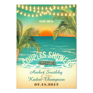 Beach Sunset Couples Wedding Shower Announcements