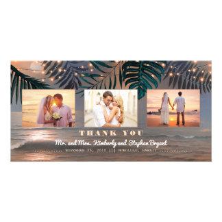 Beach Sunset Destination Wedding Thank You Photo Greeting Card