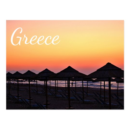 Beach sunset in Greece Postcard