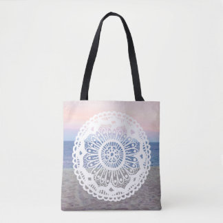 Beach Sunset Mandala Tote Bag