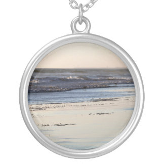Beach Sunset Ormond Beach Silver Plated Necklace