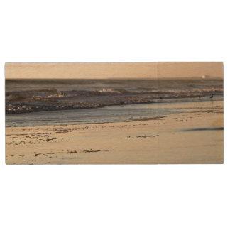 Beach Sunset Ormond Beach Wood USB Flash Drive