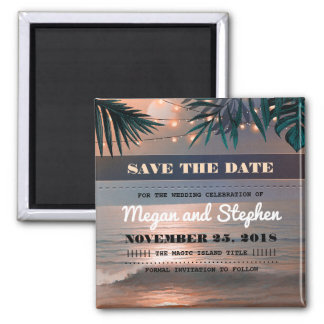 Beach Sunset Palm String Lights Save the Date Square Magnet