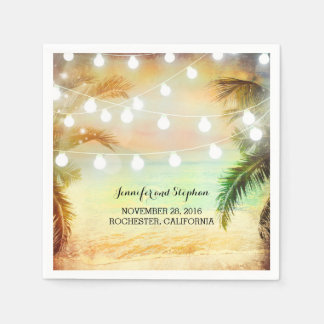Beach Sunset Palms and String Lights Wedding Napkin