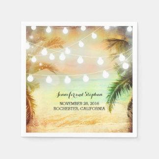 Beach Sunset Palms and String Lights Wedding Paper Napkins
