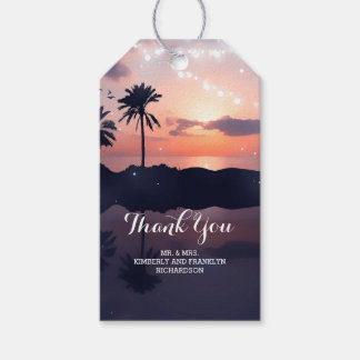 Beach Sunset Palms Wedding Gift Tags