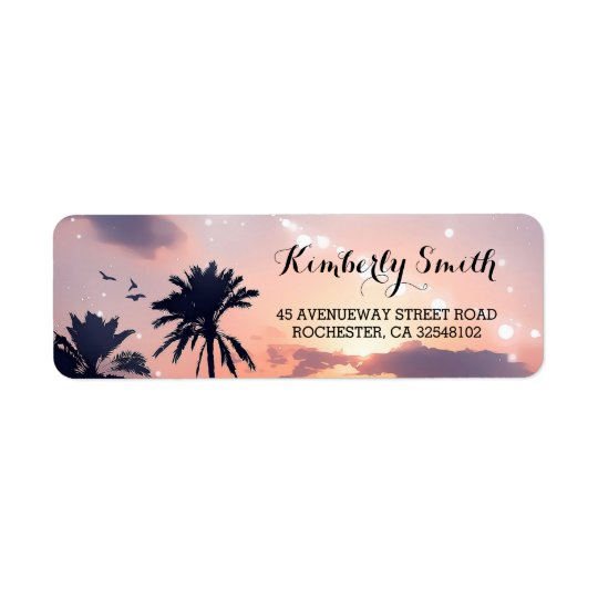 Beach Sunset Palms Wedding Return Address Label