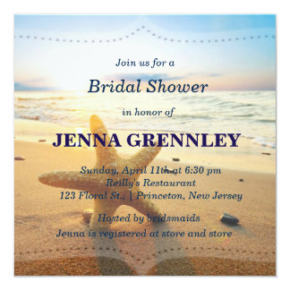 Beach Sunset Romantic Bridal Shower Any Party Card