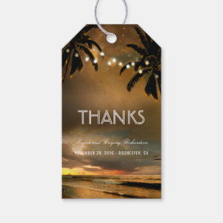Beach Sunset String Lights Palms Wedding Pack Of Gift Tags