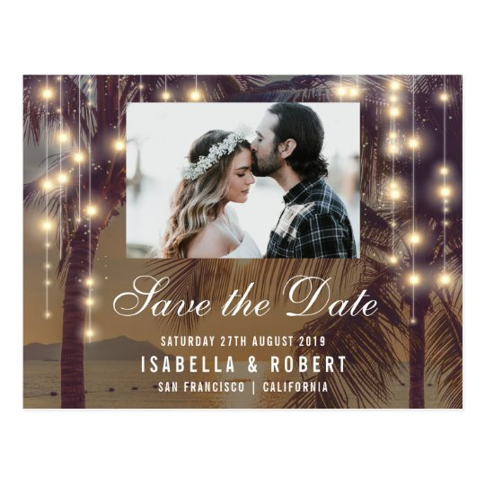 Beach Sunset & String Lights Photo Save The Date Postcard