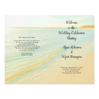 Beach Sunset Sunrise Folded Wedding Program