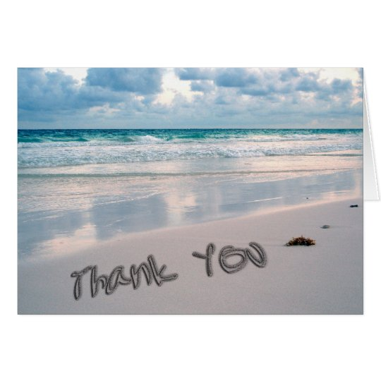 Beach Sunset Thank You Sand Writing Card