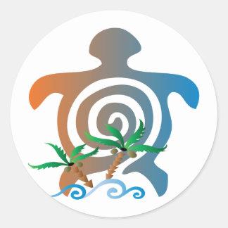 Beach-sunset-turtle Classic Round Sticker