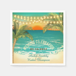 Beach Sunset Wedding Napkins
