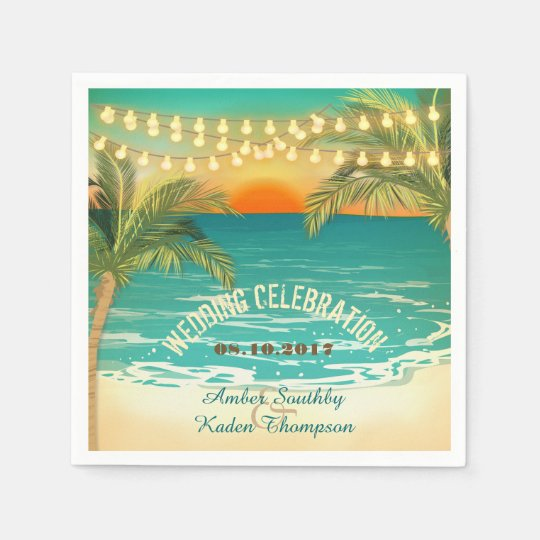 Beach Sunset Wedding Napkins Disposable Napkin
