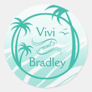 Beach Surf Palm Logo | aqua Round Sticker
