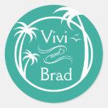 Beach Surf Palm Logo   aqua Round Stickers