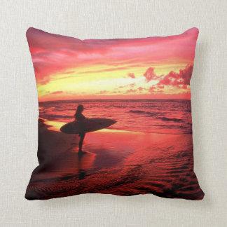 Beach surfboard throw pillow