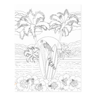 Beach Surfboards Adult Coloring Postcard