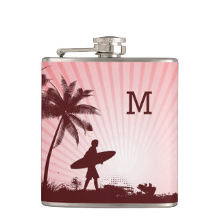Beach Surfer custom monogram flask