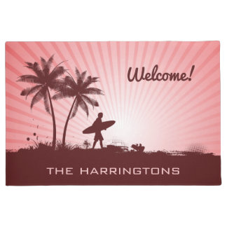 Beach Surfer custom name door mats