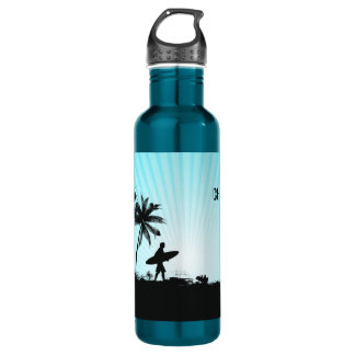 Beach Surfer custom name water bottles