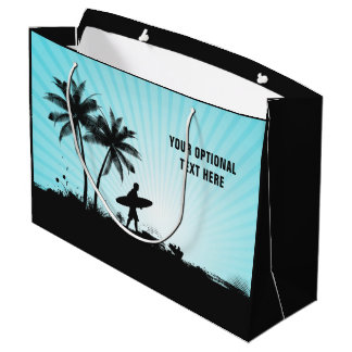 Beach Surfer custom text large gift bag