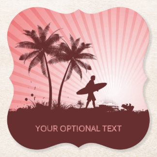 Beach Surfer custom text paper coasters