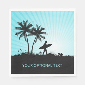 Beach Surfer custom text paper napkins