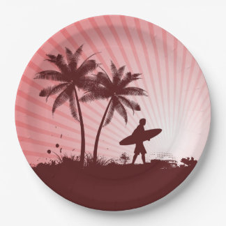 Beach Surfer paper plates