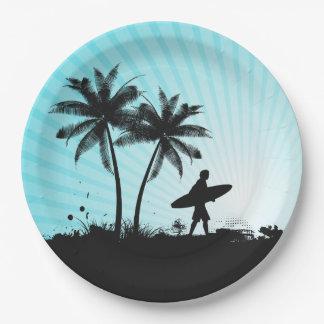 Beach Surfer paper plates