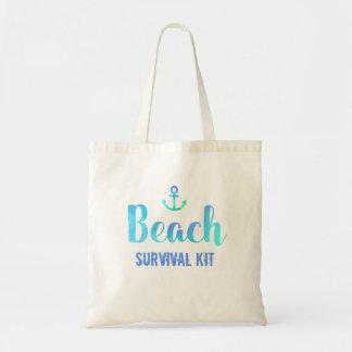 Beach Survival Kit Watercolor Anchor Tote Bag