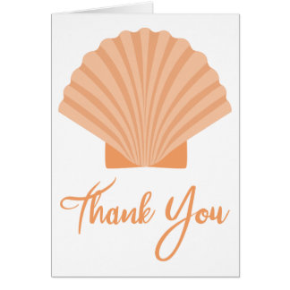 Beach Thank You Orange Seashell Nautical Wedding Card