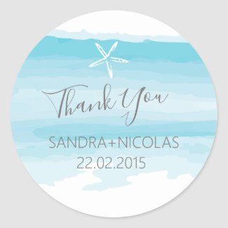 Beach Thank you wedding stickers