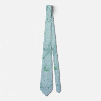 Beach Theme Aqua Linen Look Neck Tie