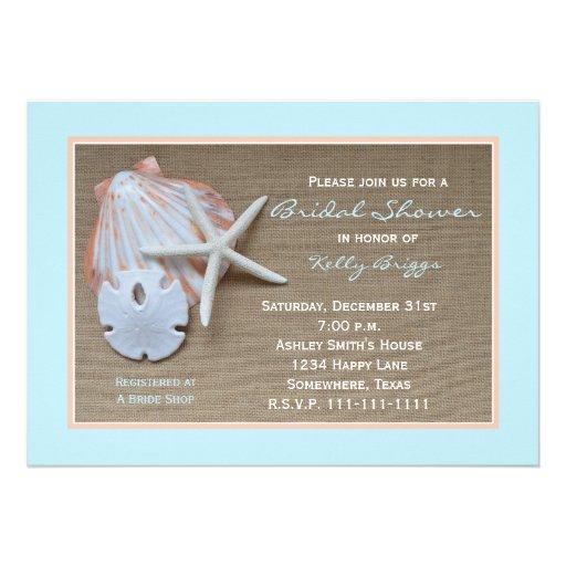Beach Theme Bridal Shower Invitation -- Burlap Custom Announcements