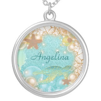 Beach theme elegant turtle birthday silver plated necklace