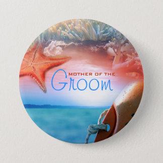 """Beach theme"" groom wedding tropical cruise 3 Inch Round Button"