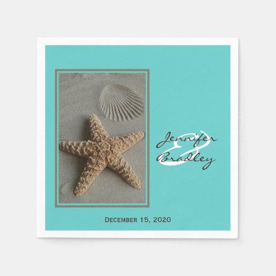 Beach Theme Paper Wedding Napkins Disposable Napkins